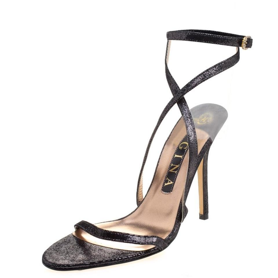 Metallic Black Black Metallic Suede Ankle Strap Sandals 3455ea