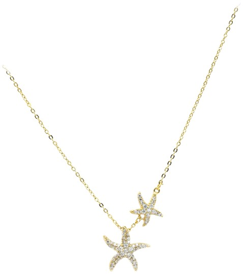 Preload https://img-static.tradesy.com/item/23596477/gold-925-double-starfish-crystal-necklace-0-2-540-540.jpg