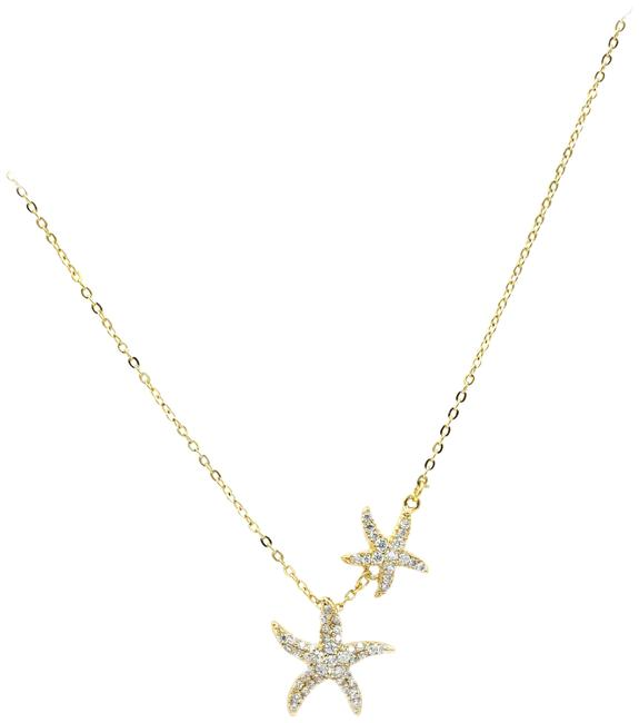 Ocean Fashion Gold 925 Double Starfish Crystal Necklace Ocean Fashion Gold 925 Double Starfish Crystal Necklace Image 1