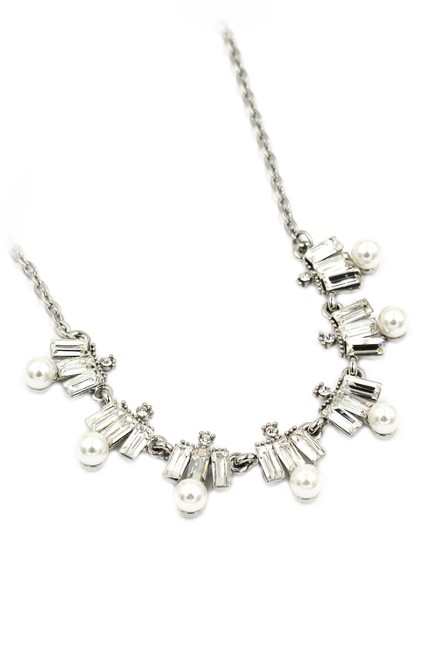 Ocean Fashion White Crystal and Pearl Necklace Ocean Fashion White Crystal and Pearl Necklace Image 1