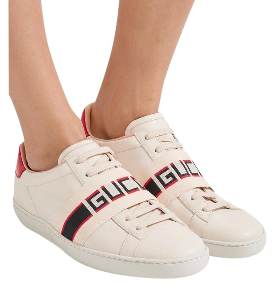 f0c5808b22d Gucci Ace Logo Stripe Leather Sneakers Size US 7.5 Regular (M, B ...