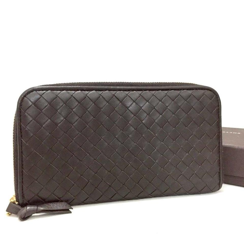 348701ec75083 Bottega Veneta Bottega Veneta Intrecciato Brown Leather Zippy Zip Around  Wallet Image 0 ...