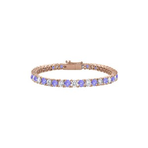 DesignerByVeronica Created Tanzanite and Cubic Zirconia Tennis Bracelet in Rose Vermeil.