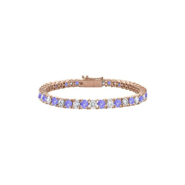 Blue Created Tanzanite and Cubic Zirconia Tennis Rose Vermeil. Bracelet Blue Created Tanzanite and Cubic Zirconia Tennis Rose Vermeil. Bracelet Image 1