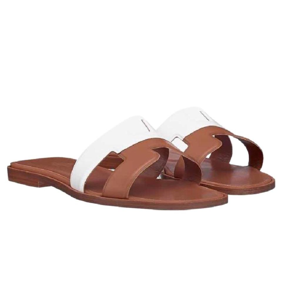 2a48f6d60d09 Hermès Brown Oran Gold White Leather Bi-color Sandals Size EU 37 ...
