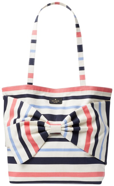 Item - On Purpose Tote White with Coral Navy and Light Blue Stripes Canvas Beach Bag