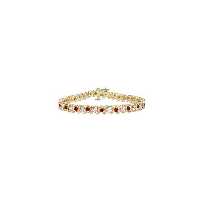 Red Created Ruby and Cz Tennis 5.00 Ct Tgw On Yellow Vermeil Bracelet Red Created Ruby and Cz Tennis 5.00 Ct Tgw On Yellow Vermeil Bracelet Image 1