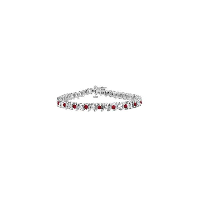 Red Designer Created Ruby and Cubic Zirconia Tennis with 5.00 Ct Bracelet Red Designer Created Ruby and Cubic Zirconia Tennis with 5.00 Ct Bracelet Image 1