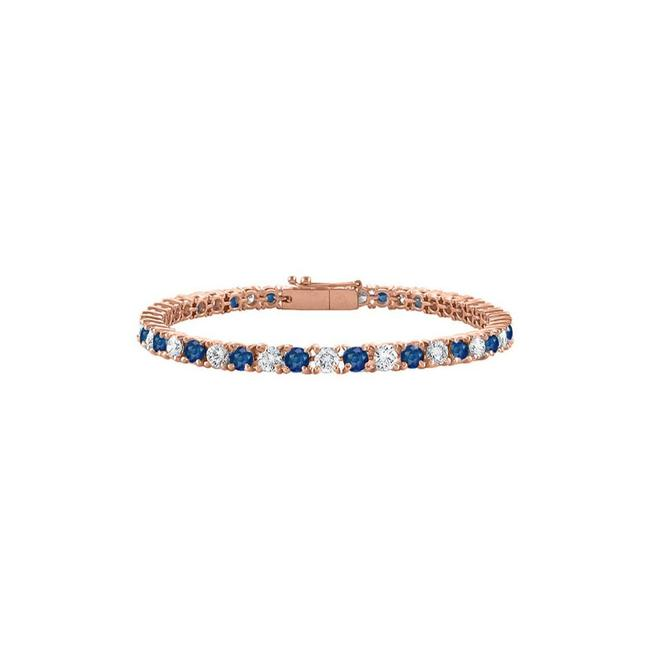 "Blue Tennis Sapphire Created and Cz In Rose Vermeil. 5 Ct. Tgw. 7"" Bracelet Blue Tennis Sapphire Created and Cz In Rose Vermeil. 5 Ct. Tgw. 7"" Bracelet Image 1"