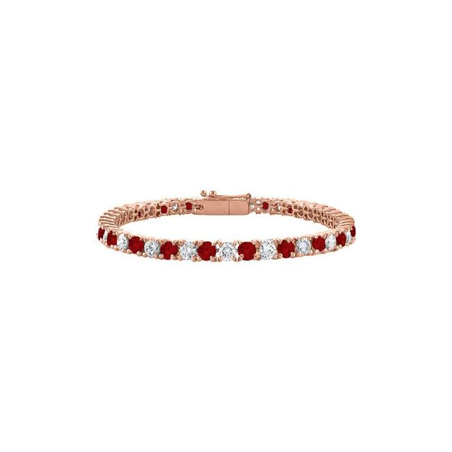 Red Tennis Garnet and Cubic Zirconia In Rose Vermeil. 5 Ct. Tgw. Bracelet Red Tennis Garnet and Cubic Zirconia In Rose Vermeil. 5 Ct. Tgw. Bracelet Image 1