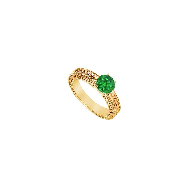 Yellow Green Created Emerald Gold Vermeil 0.50 Ct Tgw Ring Yellow Green Created Emerald Gold Vermeil 0.50 Ct Tgw Ring Image 1