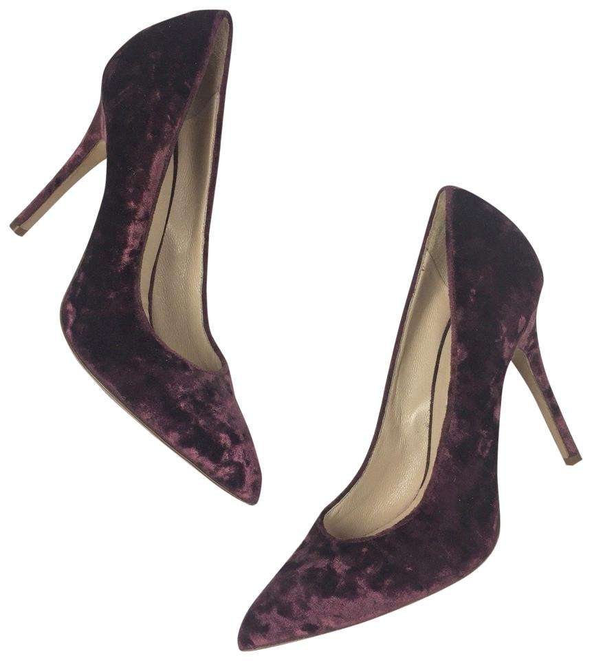 fb48b2d8e983 Monique Lhuillier Burgundy Heels Velvet Classic Luxury Designer Pumps