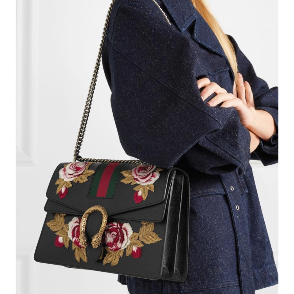 8d4be0248971 Gucci Dionysus Medium Embroidered Roses Web Black Leather Shoulder ...