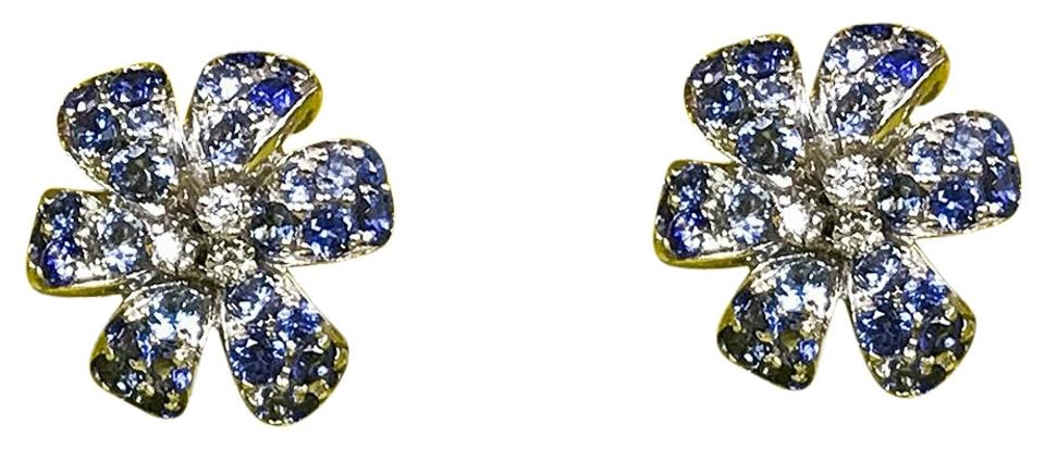 f180fd3d57e Gucci Gold Flora with Sapphires   Diamonds Earrings - Tradesy