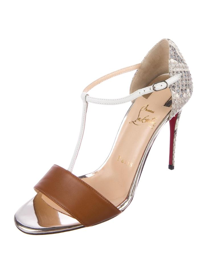 another chance 0a1a0 fe710 Christian Louboutin New Snakeskin T-strap 7 Sandals Size EU 37 (Approx. US  7) Regular (M, B) 41% off retail