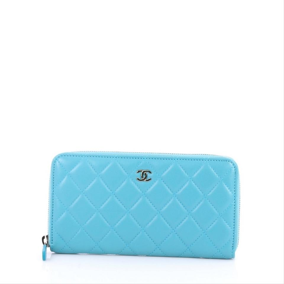 7e6bef00d7a5 Chanel Blue Zip Around Quilted Lambskin Long Wallet - Tradesy