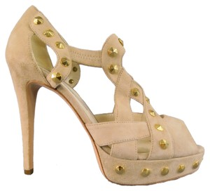 Brian Atwood Studded Cutout Gladiator Rocker Peep Toe Beige Platforms