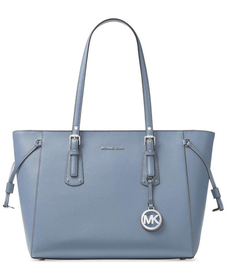 583708628c49 Michael Kors Voyager Medium Multifunction Top-zip Pale Blue Silver Leather  Tote