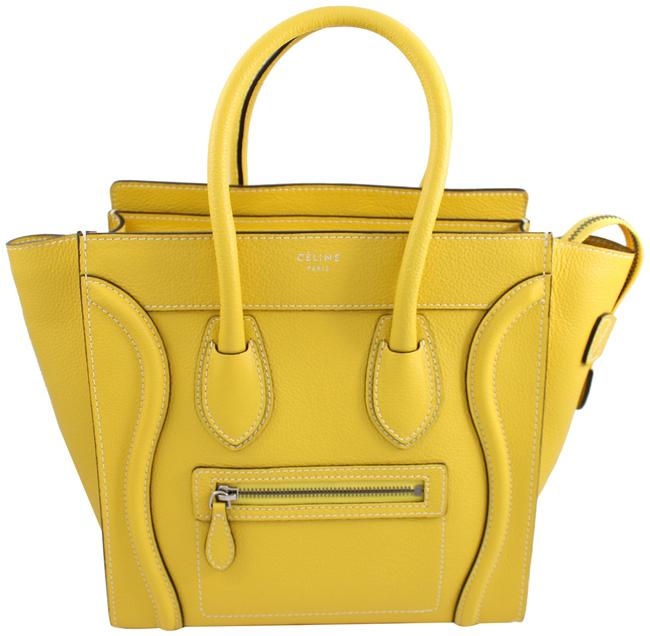 Item - Luggage Grained Mini Yellow Silver Leather Tote