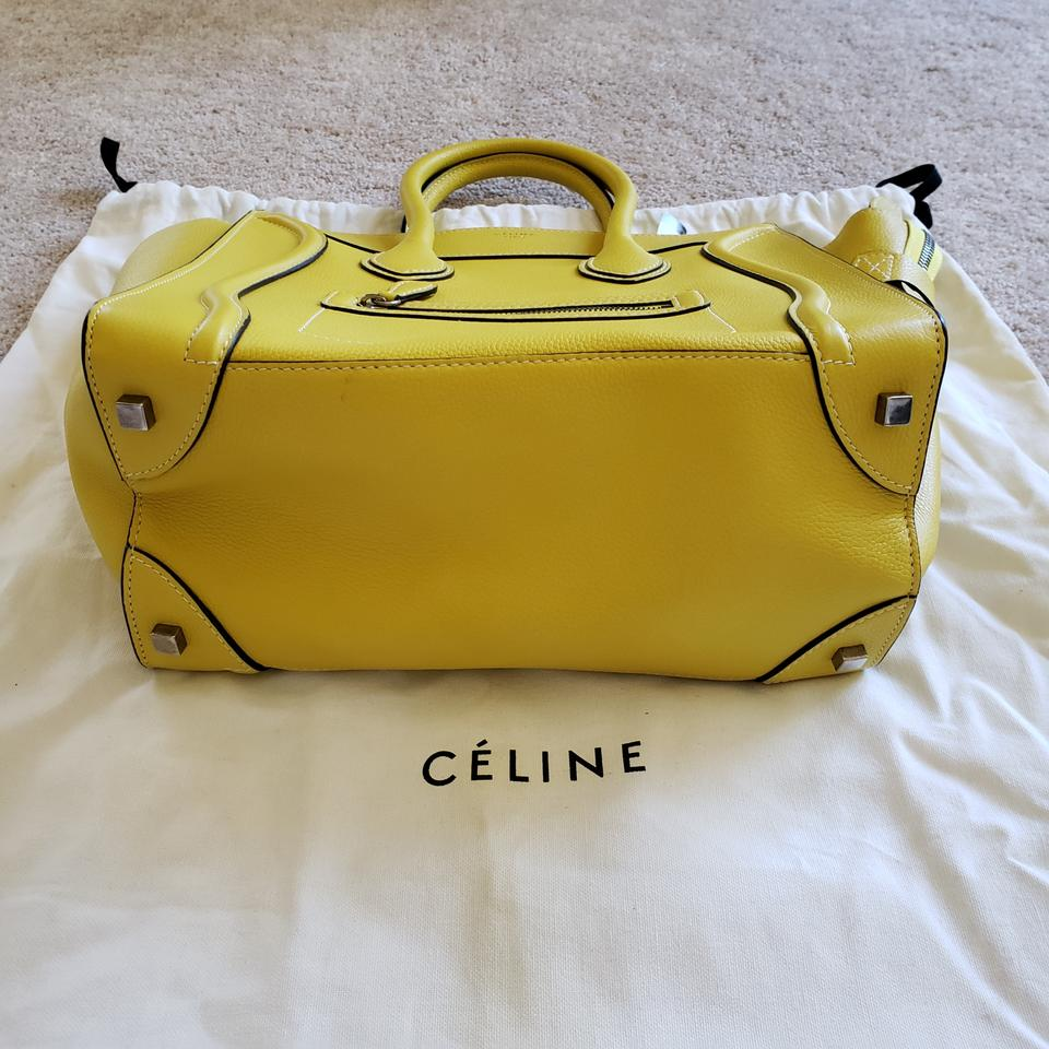 Mini Céline Luggage Tote Yellow Silver Leather Grained qxP8zwgB