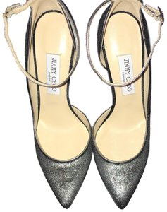 Jimmy Choo Metallic Gray Velvet Formal