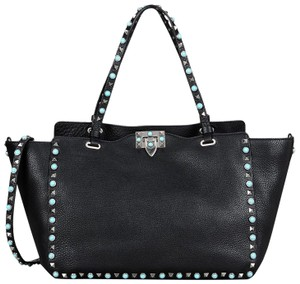 Valentino Leather Rockstud Turquoise Detachable Strap Tote in Black