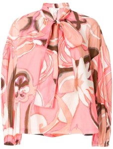 Marc Jacobs Lightweight Silk Cotton Long-sleeved Top Pink Multi
