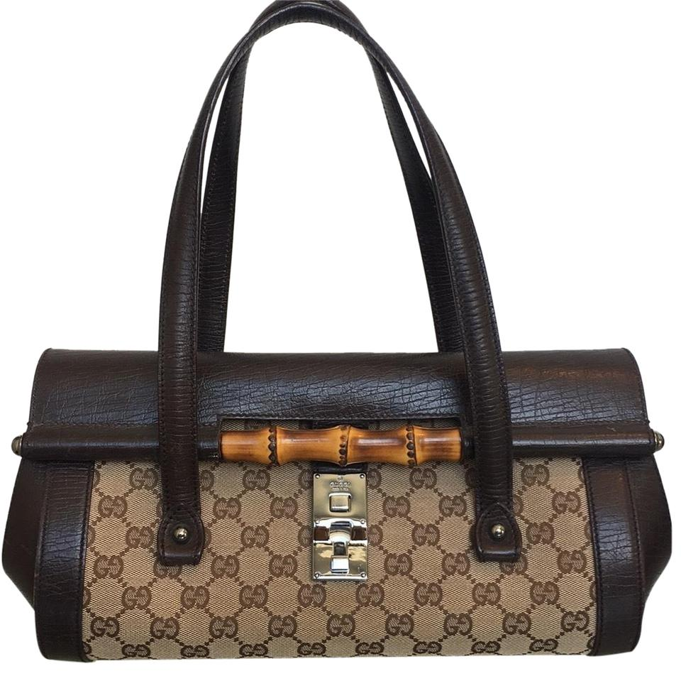 a41c2314fded Gucci Monogram Canvas Bamboo Brown Leather Baguette - Tradesy