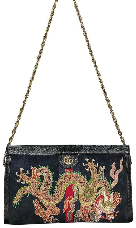 d57a6f2a661 Gucci Ophidia Suede Dragon Embroidered Clutch Shoulder Bag Image 0 ...