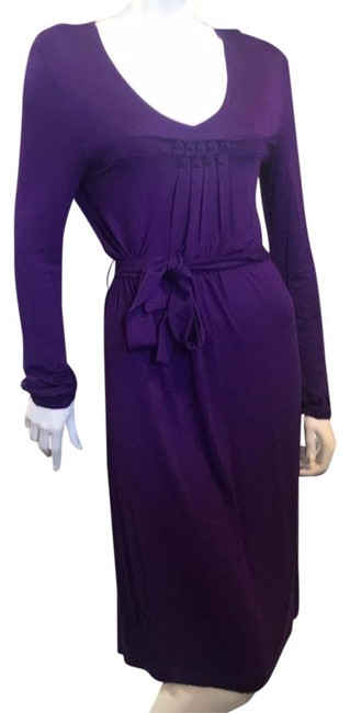 Item - Purple Knit Belted Mid-length Short Casual Dress Size 4 (S)