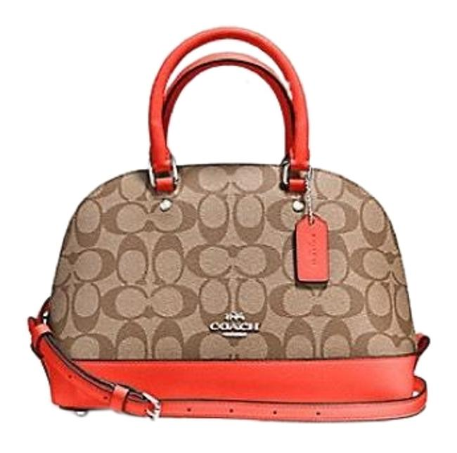 Item - Sierra Mini In Signature Coated Canvas Khaki / Orange Satchel