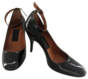 Lanvin Patent Leather Round Toe Ankle Strap Italian Black Pumps