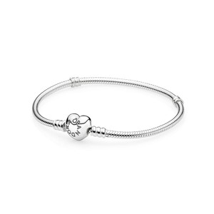 PANDORA Silver Charm Bracelet With Heart Clasp 7.5IN