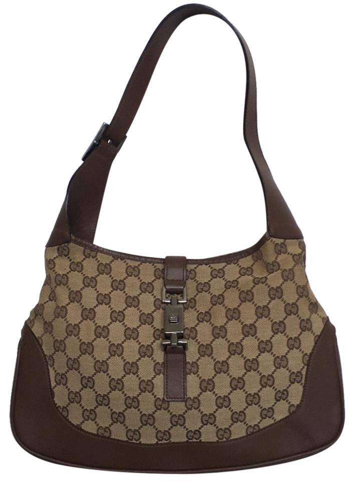 c6c09f94920 Gucci Jackie Monogram Brown Canvas and Leather Hobo Bag - Tradesy