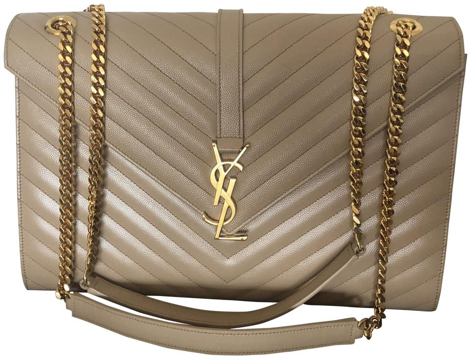e6988ff1bcad Saint Laurent Cassandre Monogram Large Matelasse Beige Calfskin Leather  Shoulder Bag