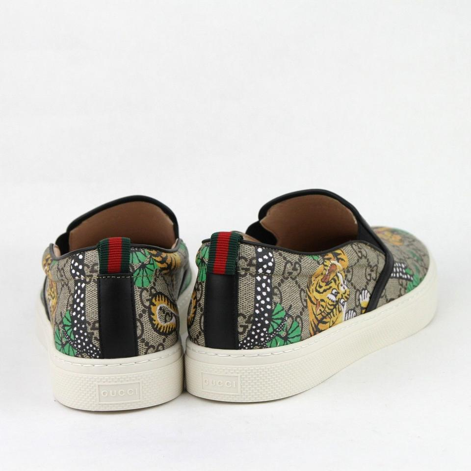 b9999efde0f Gucci Beige Supreme Canvas Bengal Tiger Slip On Sneakers 9.5g Us 10.5  407362 8680. 12345678
