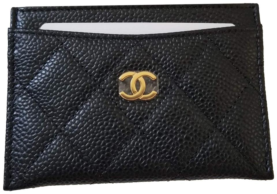 f0eff4bdbee6 Chanel NEW Chanel Caviar quilted leather Card Case holder Gold logo wallet  Image 0 ...