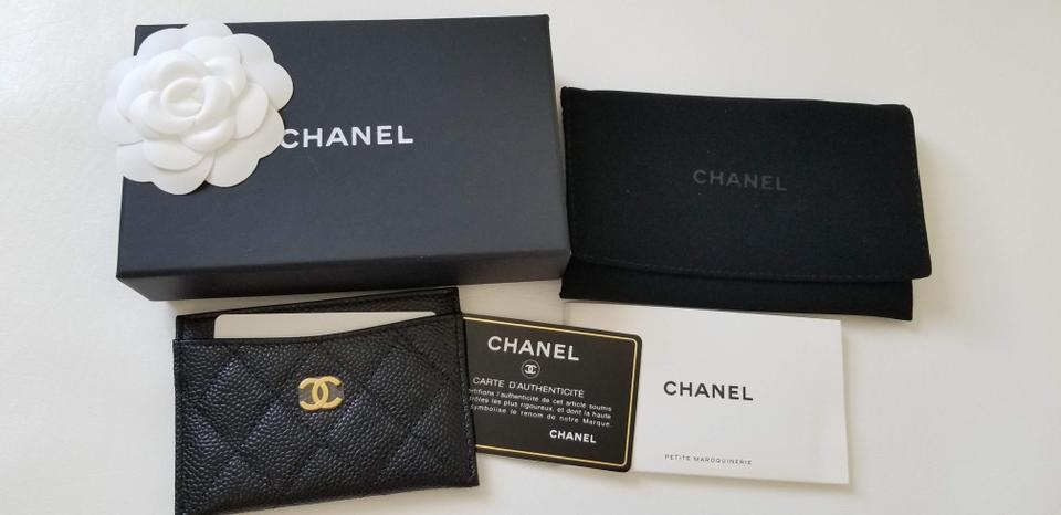 b8cb38a81b4 Chanel NEW Chanel Caviar quilted leather Card Case holder Gold logo wallet  Image 9. 12345678910