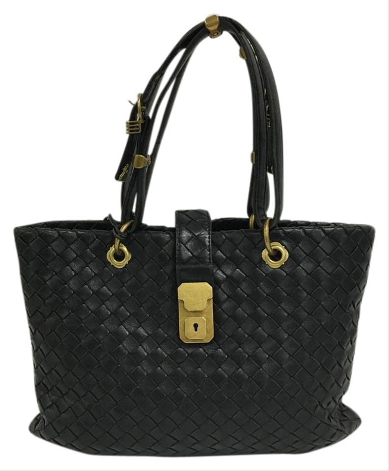 Bottega Veneta Capri Intrecciato Small Black Nappa Leather Tote ... 6586ba6e9e70e