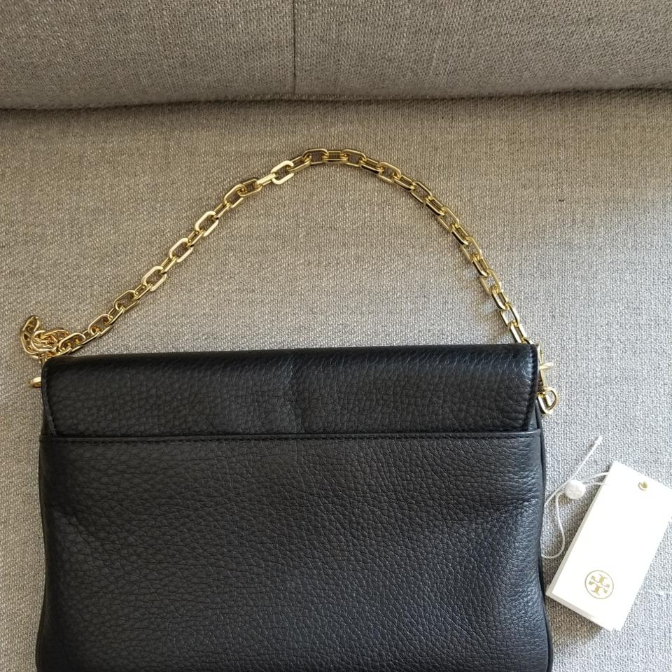 55400d3cf33 Tory Burch Bombe Gold Chain Convertible Shoulder Black Leather Clutch 39%  off retail
