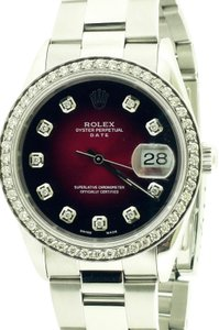 Rolex Rolex Oyster Perpetual Date Stainless Steel Wine-Red Dial 34mm Watch