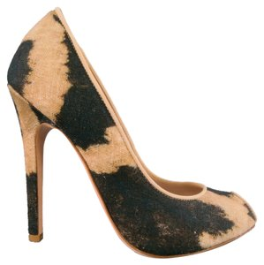 Giambattista Valli Leopard Animal Peep Toe Classic Canvas Tan & Black Pumps