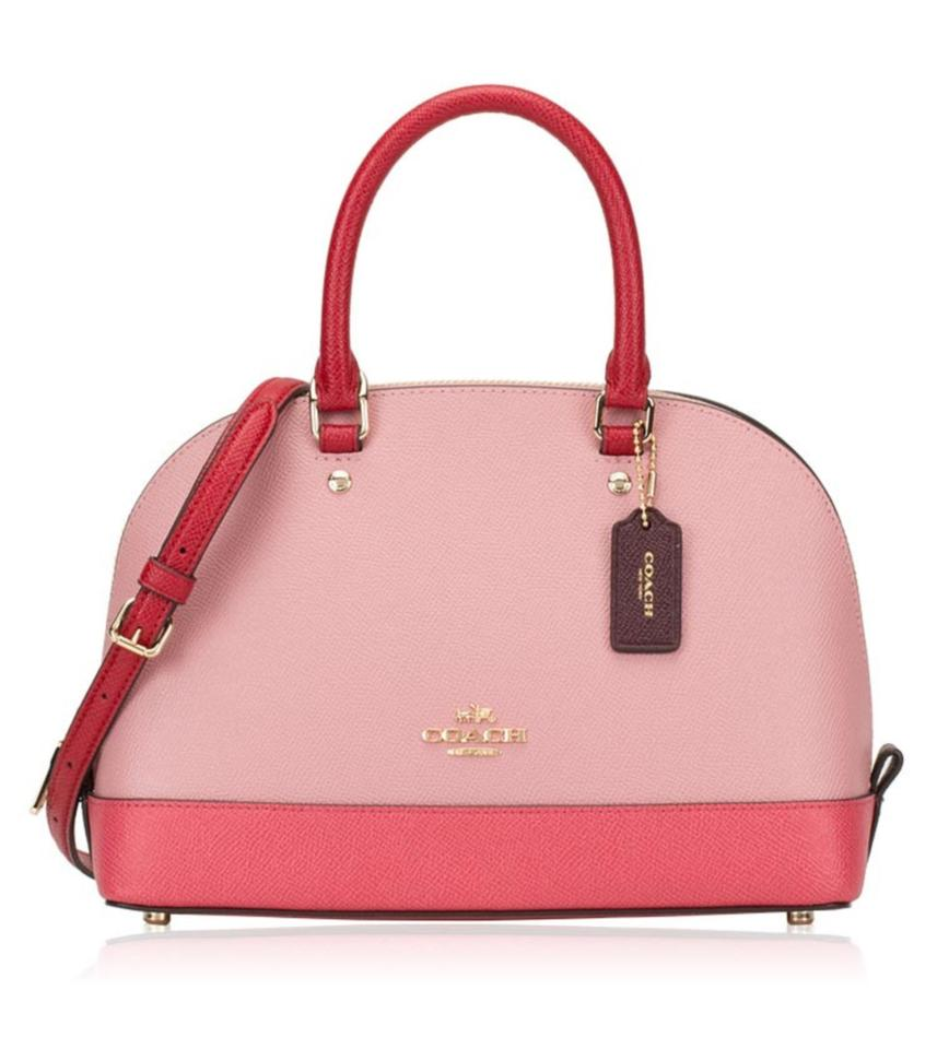 0c91082a6d Coach Sierra Mini Domed Colorblock Pink Red Leather Satchel - Tradesy
