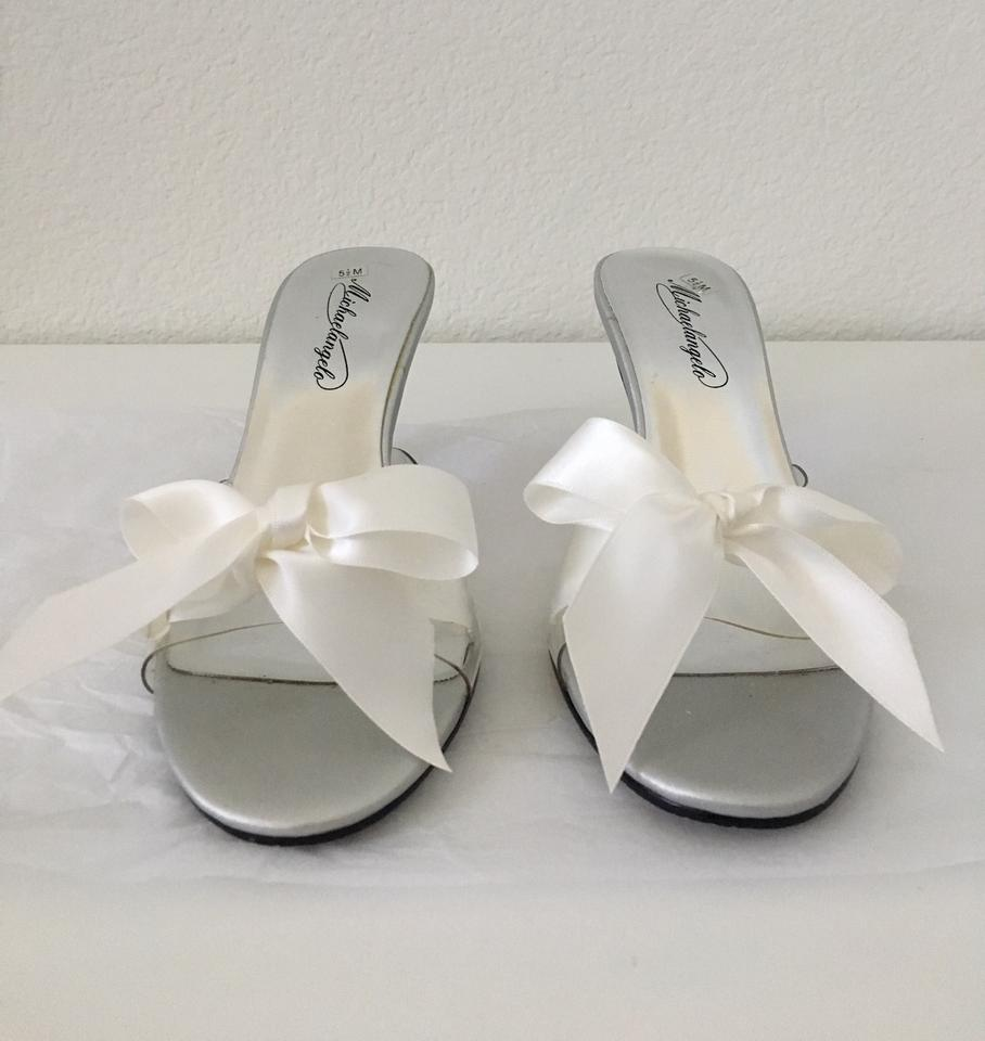 afd283773874f David s Bridal Clear With White Ribbon Kitty Mules Slides Size US 5.5  Regular (M ...