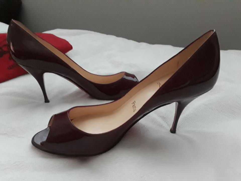 4388c6c38a Christian Louboutin Patent Leather Peep Toe Kitten Deep Red Pumps Image 6.  1234567