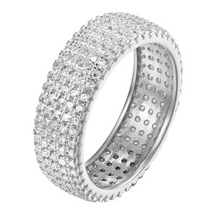 Silver Eternity Sterling White Womens Band Ring