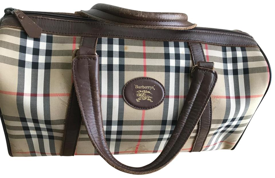 5bcf5704d750 Burberry Keepall Luggage Carry On Nova Check Plaid Pattern Canvas Leather  Weekend Travel Bag