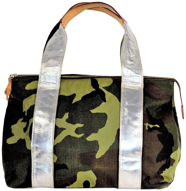 Item - Camo Printed & Kevlar Metallic Straps Large Camouflage and Silver Canva Leather Tote