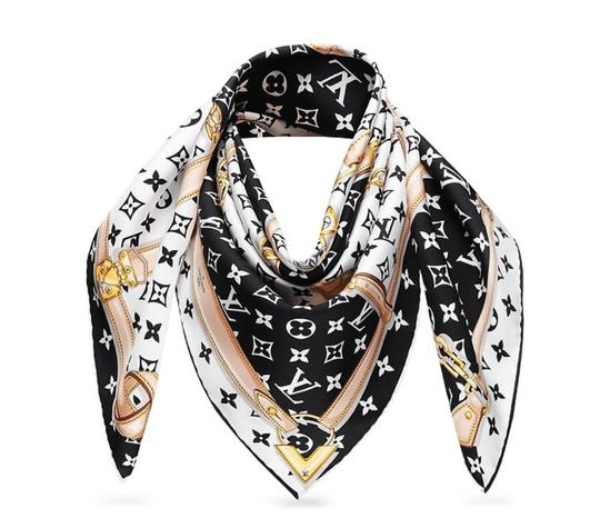 Preload https://img-static.tradesy.com/item/23599580/louis-vuitton-black-white-new-lv-monogram-confidential-bandeau-large-square-scarfwrap-0-0-540-540.jpg