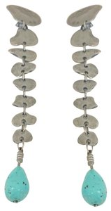 """Ben-Amun hammered silver tone & turquoise 6"""" long statement earrings"""